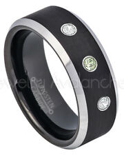Tungsten Ring,0.21ctw Peridot & Diamond 3-Stone Ring August Birthstone Ring #667