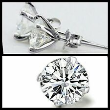 Rhodium Plated 925 Silver Stamped Stud Clear Round Cubic Zirconia CZ Earrings