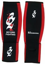 Red Neoprene Gel Shin Instep Pads MMA Leg Foot Guards Muay Thai Kick Protector