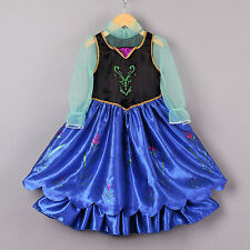Kids Frozen Anna Costume Halloween Girls Pleated Party Pageant Fancy Dresses