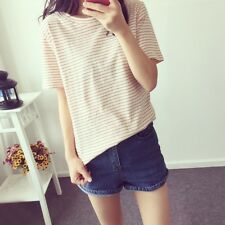 Lady Fashion Striped Crew Neck T-shirt Top Blouse Short Sleeve Casual Loose Soft