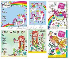 Unicorn Mermaid Themed Kids Party Invitations Thank You Birthday Cards Glitter