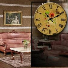 14Inch Chic Home Decor Art Works Vintage Style Wooden Round Wall Clock NEW