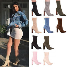 LADIES WOMEN WINTER ANKLE BOOTS STRETCH POINTY BLOCK HIGH HEEL FASHION SHOES 3-9