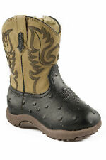 Roper Cowbabies Newborn Black Faux Leather Western Ostrich Boots