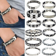 New Mens Black Silver Stainless Steel Rubber Biker Bracelet Bangle Chain Jewelry