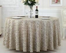 Grey Color Floral Pattern Round Shape Waterproof Fabric Party Dining Table Cloth
