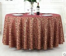 Solid Color Polyester Material Round Shape Table Cloth For Party Use
