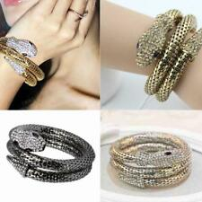 Women Vintage Retro Crystal Curved Jewelry Snake Cuff Bangle Arm Bracelet