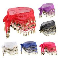 Belly Dancing Wave Chiffon Waist Chain Hip Scarf Skirt Belt With 128 Coins