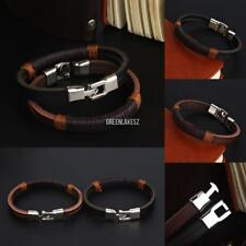 New Surfer Men Vintage Hemp Wrap Leather Wristband Bracelet Cuff Black GRLN