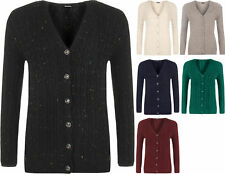 Plus Size Womens Long Sleeve V-Neck Cable Knit Button Top Ladies Cardigan 16-22