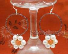 SALE Fashion white pearl and Pink Coral & 28mm metal Ring Dangle Earring-ear611
