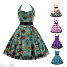 ZAFUL HALTER BUTTERFLY PRINTING 50s 60s ROCKABILLY VINTAGE PROM PARTY DRESS