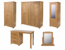Wardrobe And Dressing Table in Lacquered Oak Veneer with Dovetailed Drawers