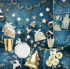 GINGER RAY GOLD CHRISTMAS PARTY DECORATION PLATES NAPKINS CONFETTI BUNTING STAG
