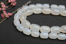 Natural White Agate Rice Barrel Shape Loose Gemstone Beads for Jewelry Making