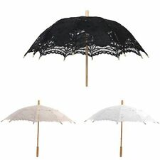 US Kids / Adult Girls Cotton Lace Embroidery Bridal Sun Wedding Parasol Umbrella