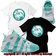 NEW CUSTOM TEE Nike Air More Uptempo matching T SHIRT UTP 1-9-16 ISLAND GREEN