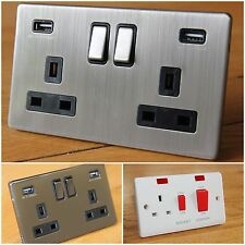 Quality Cooker Switch, Screwless Brushed Chrome / Black Nickel USB wall socket