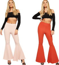 Womens Crepe High Waisted Funnel Hem Pants Ladies Wide Leg Flared Trousers