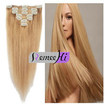 9 pieces Full Head hair extension Clip in Real Human Hair Extensions Straight