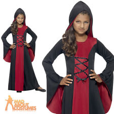 Girls Hooded Robe Costume Halloween Vampire Fancy Dress Child Vamp Outfit 4-12