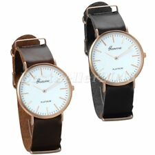 Men's Fashion Black Brown Faux Leather Analog Quartz Wrist Watch+Gift Bag