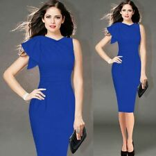 Women Blue Color Fashion Ruffle Sleeve Ruched Fitted Stretch Pencil Dress