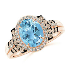 Vintage Style Swiss Blue Topaz and Diamond Halo Cocktail Ring 14K Rose Gold