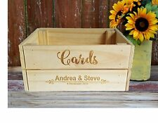 Personalised Wooden WISHING WELL CRATE+ LID  card box rustic wedding