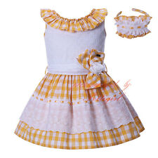 Toddler Girl Check Dress with Headband Sleeveless Princess Party Pageant Holiday
