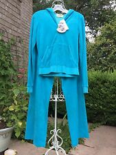 "NWT JUICY COUTURE ""PEACOCK"" BLUE TERRYCLOTH TRACK SUIT 2 SET   NWT   SIZE M/L"