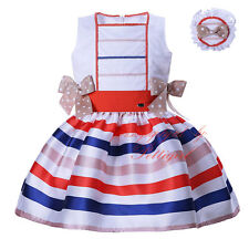 Toddler Girl Stripes Bow Dress and Headband Set Pageant Wedding Party Communion