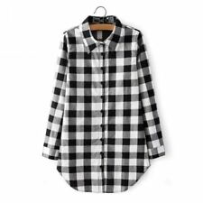Women Plaid Black and Red Color Cotton Plaid Casual V-neck Blouse