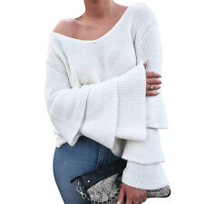 Knitted Pullover Casual Loose Sweater Long Sleeve V-neck Knitwear Fashion Women