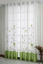 A pair Embroidered patch work Flower vine Sheer Voile Window Curtains green
