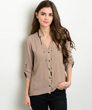 NWT Women's Sheer Lovely & Sexy Mocha Solid Blouse Shirt Top