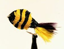 3 Bumble Bee FRY Flies Barbless Barbed Carp Pike Trout Fly Fishing Size 8,10