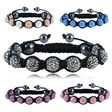 5Colours bracelets adjustable 10mm crystal AB clay disco ball shamballa bangles