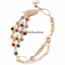 Fashion Charm Colorful Rhinestone Peacock Shape Women Bangle Bracelet 9.4 Inches