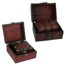 2Pcs Trinket Vintage Wooden Treasure Case Jewelry Storage Box Holder Organizer