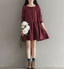 Autumn And Winter Fashion O Neck A Line Above Knee Plus Size Dress For Women