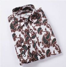 New Fashion Casual Floral Printed Turn-down Collar Slim Fit Men Shirt Size M-4XL