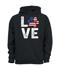 Love Dog Stars And Stripes USA America K9 Puppy Lover Hoody Hoodie Mens Womens