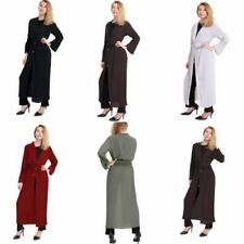 women ladies Pleated long kimono/open abaya/maxi style/lace belted  cardigan