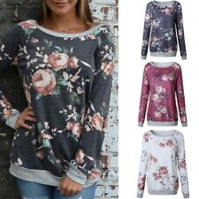 Fashion Casual T Shirt Top Blouse Women's Floral Printed Pullover Long Sleeve