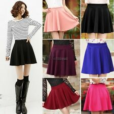 Women Candy Color Stretch Waist Plain Skater Flared Pleated Mini Skirt WT8806
