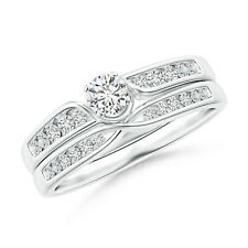 Solitaire Diamond with Accents Engagement Ring Wedding Band Set 14k White Gold