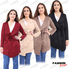 Women Ladies Long Sleeve Waterfall Short Belted Trench Coat Jacket Plus Size